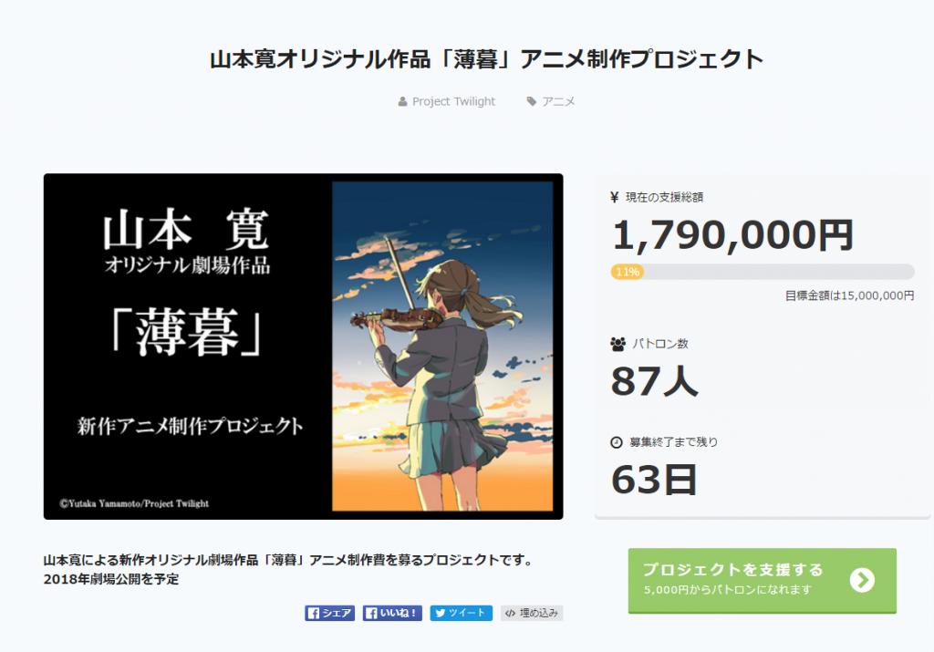 山本宽原作小说动画电影《薄暮》开启众筹,预定2018年上映