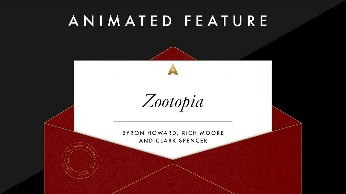第89届奥斯卡奖今日公布 《疯狂动物城》、《鹬》分获最佳动画长短片