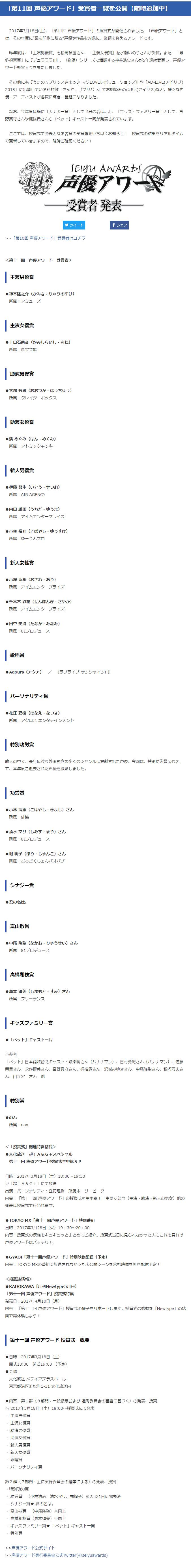 第11回声优赏获奖名单公布,《你的名字。》成最大赢家-ANICOGA